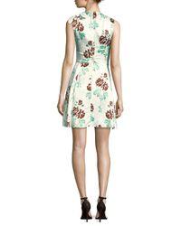 Victoria Beckham White D-ring Floral Flare Dress