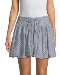 Free People Blue Polka-dot Flare Skirt