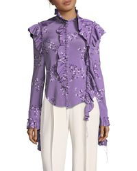 Vetements Purple Ruffled Leaf-print Blouse