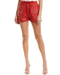 Valentino Red Silk-lined Leather Short