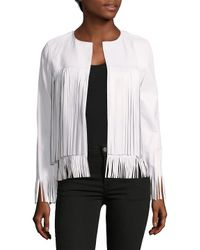 ThePerfext White April Solid Fringed Leather Jacket
