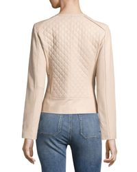 Cole Haan Pink Leather Collarless Jacket