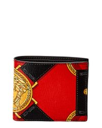 Versace Red Palazzo Leather Bifold Wallet for men
