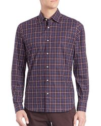 Saks Fifth Avenue - Red Plaid Long Sleeve Shirt for Men - Lyst