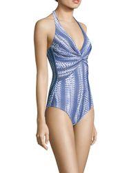 Melissa Odabash Blue Zanzibar Twist-front Printed Halterneck Swimsuit