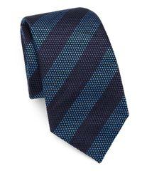 Saks Fifth Avenue Blue Striped Silk/cotton Tie for men