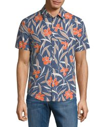 Original Penguin - Blue Linen-blend Heritage Slim Fit Woven Shirt for Men - Lyst