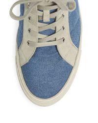 Balmain Blue Quilted Denim & Suede Hi-top Sneakers for men