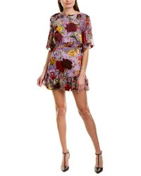 Alice + Olivia Purple Katrina Silk-blend Mini A-line Dress