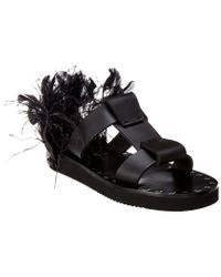 Valentino Black Leather & Feather Sandal