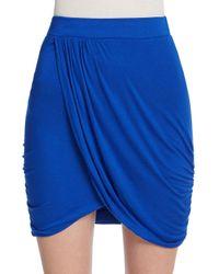 The Vanity Room   Blue Draped Knit Mini Skirt   Lyst
