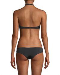 Tori Praver Swimwear Black Halter Lace Bikini Top