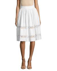 Alice + Olivia White Morina Lattice Cotton Skirt