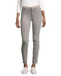 Maje Gray Leather-trim Slim-fit Jeans