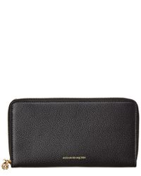 Alexander McQueen Black Leather Zip Around Wallet