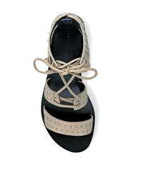 Kendall + Kylie Black Fabia Studded Suede Lace-up Sandals