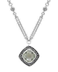Lois Hill Metallic Silver 12.37 Ct. Tw. Green Quartz Necklace
