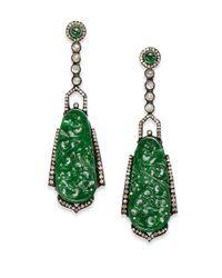 Bavna Green Jade, Diamond & Sterling Silver Chandelier Earrings