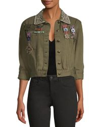 Alice + Olivia Green Chloe Embroidered Cropped Jacket With Pins