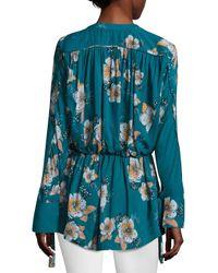 Free People Blue Floral Surplice Blouse