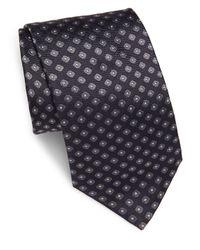 Brioni Gray Woven Geometric-pattern Silk Tie for men
