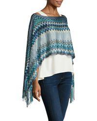 Missoni Blue Crochet Fringe Trimmed Poncho