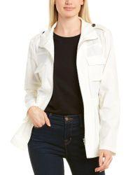 T Tahari White Mock Neck Linen-blend Jacket