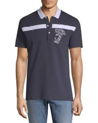 Versace Blue Embroidery Polo Shirt for men