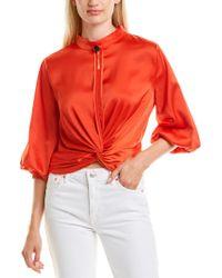 Gracia Orange Twist-front Top