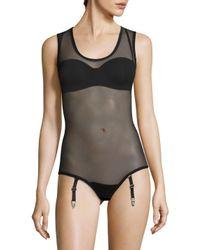 La Perla Black Woven Mesh Bodysuit
