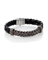 John Hardy Black Woven Leather Bracelet for men