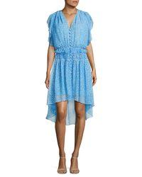 The Kooples Blue Floral Print Silk Dress