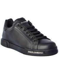 Dolce & Gabbana Black Portofino Leather Sneaker for men