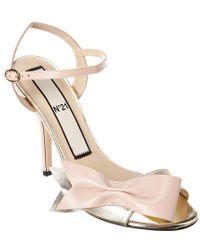 N°21 Pink Bow Metallic Leather Sandal