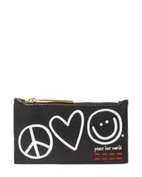Peace Love World Black Symbols Top Zip Card Case With Key Chain