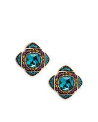Heidi Daus Blue Aqua Crystal Button Stud Earrings