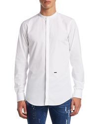 DSquared² White Band Collar Cotton Casual Button-down Shirt for men