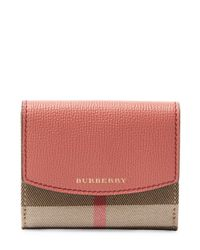 Burberry - Red Short Leather Flap Wallet - Lyst