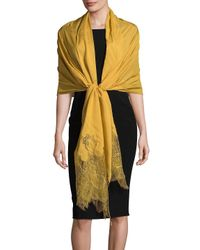 Valentino Yellow Floral Silk Stole