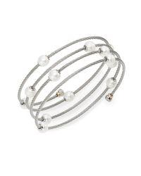 Alor Metallic Classique 1.6mm White Round Freshwater Pearl, 18k White Gold & Stainless Steel Bracelet