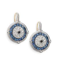 Judith Ripka Lucky Blue, White & Black Sapphire Evil Eye Earrings