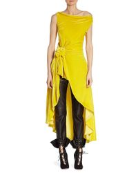 Monse Yellow Velvet Asymmetric Top