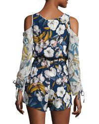 MINKPINK Blue Pacifico Printed Cold-shoulder Short Jumpsuit