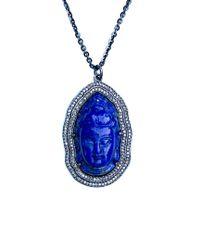 Arthur Marder Fine Jewelry Blue Silver 0.80 Ct. Tw. Diamond & Lapis Buddha Necklace