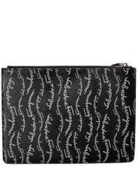 Ferragamo Black Gancini Signature Print Leather Clutch