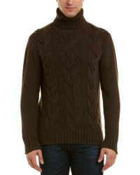 Turnbull & Asser Brown Cashmere Turtleneck Sweater for men