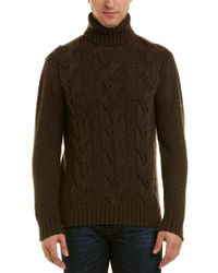 Turnbull & Asser Brown Cashmere Turtleneck Sweater for men