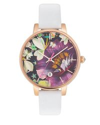 Ted Baker Multicolor Kate Round Rose Goldplated Stainless Steel Analog Leather Strap Watch