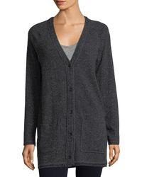 Three Dots Gray Wool Blend Longline Cardigan
