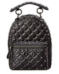 Valentino Garavani Black Rockstud Leather Backpack